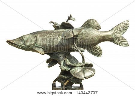 Sculpture made of bronze pike on a white background