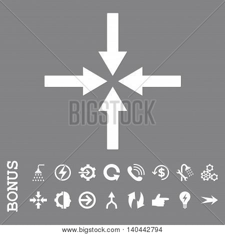 Impact Arrows vector icon. Image style is a flat iconic symbol, white color, gray background.