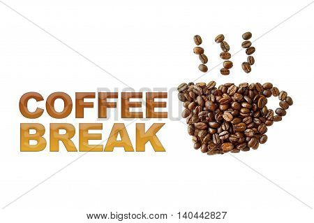 word coffee break with coffee beans coffee cup shape on white background