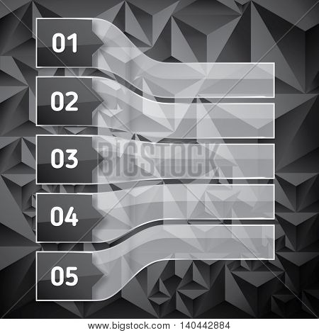 Perspective Set of Numbered headers with transparent glass rectangles. Low poly dark background with copy space for your text and headers.