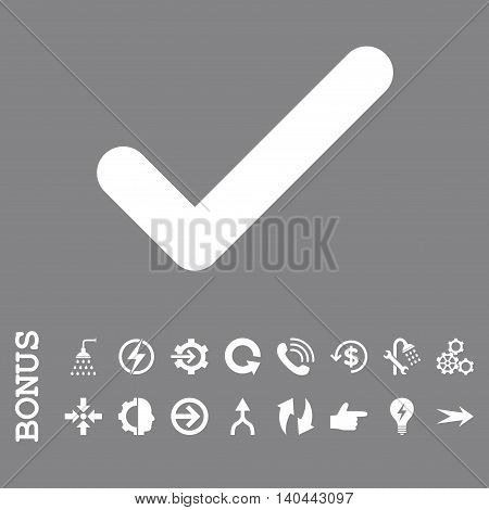 Ok vector icon. Image style is a flat pictogram symbol, white color, gray background.