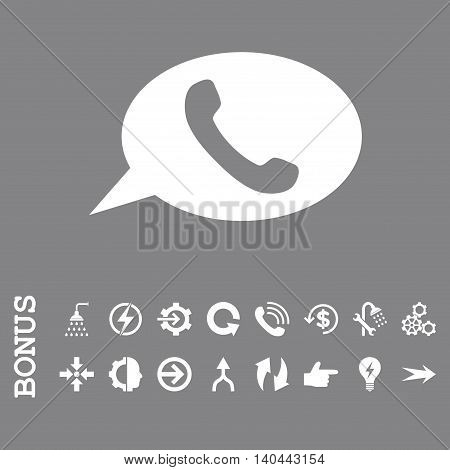 Phone Message vector icon. Image style is a flat iconic symbol, white color, gray background.