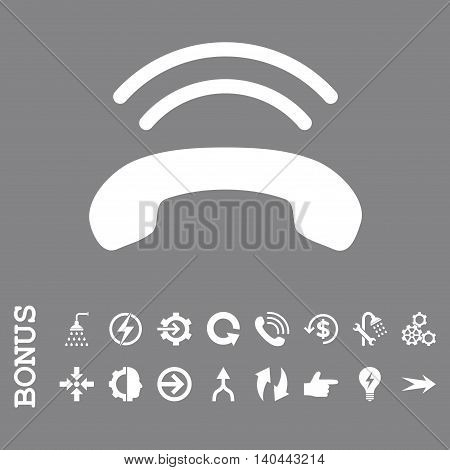 Phone Ring vector icon. Image style is a flat pictogram symbol, white color, gray background.