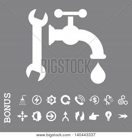 Plumbing vector icon. Image style is a flat iconic symbol, white color, gray background.