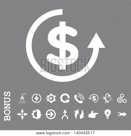 Refund vector icon. Image style is a flat iconic symbol, white color, gray background.