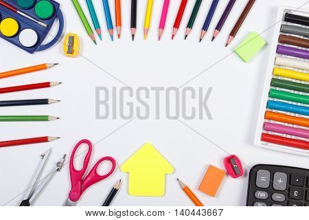 School Accessories And Shape Of Building On White Background, Back To School Concept, Copy Space For