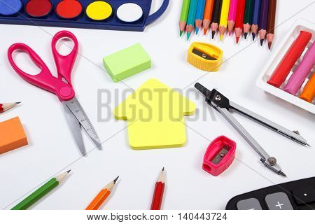 School Accessories And Shape Of Building On White Background, Back To School Concept