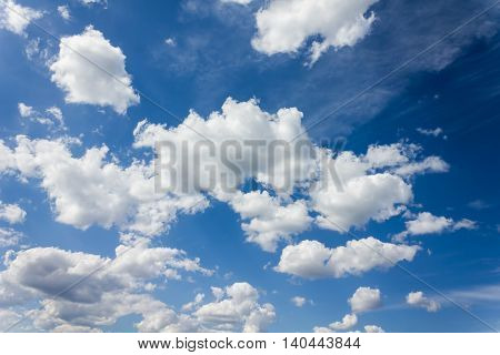 Densely Puffy Clouds On Fresh Cheerful Blue Sky