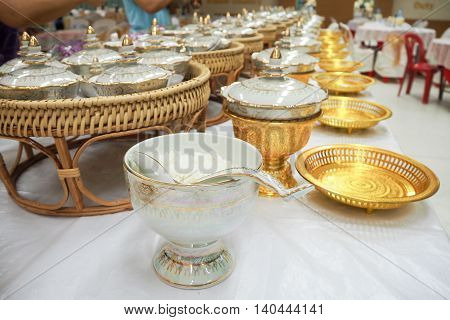 Food and drink for Buddhist religious rites.
