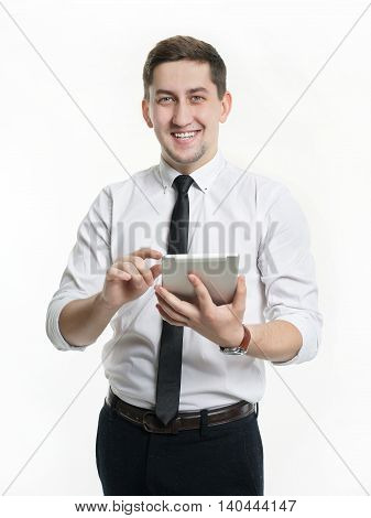 Portrait of businessman men with tablet in hand with a white shirt.