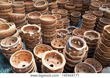 Group of terracotta flower pot. Flower Pots for planting trees