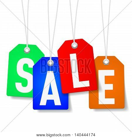 Colorful tags with Sale word on white background