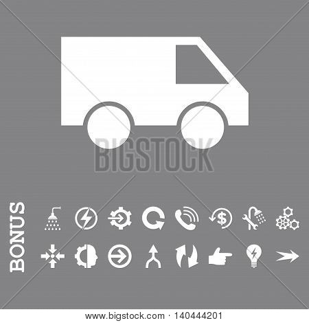 Van vector icon. Image style is a flat iconic symbol, white color, gray background.