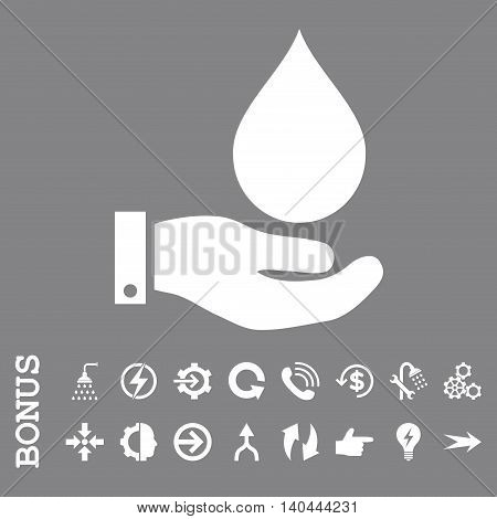 Water Service vector icon. Image style is a flat iconic symbol, white color, gray background.