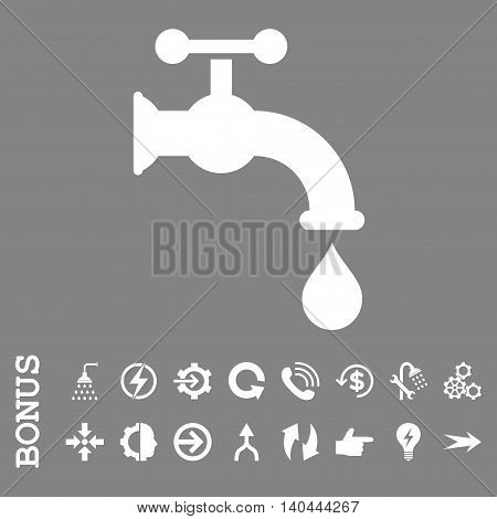 Water Tap vector icon. Image style is a flat iconic symbol, white color, gray background.