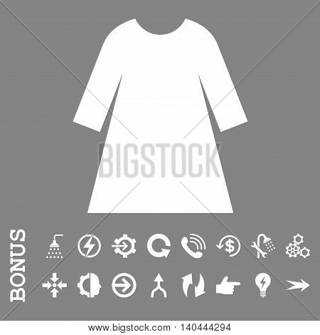 Woman Dress vector icon. Image style is a flat iconic symbol, white color, gray background.