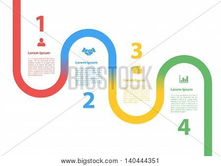 four steps sequence process diagram infographic layout concept vector illustration for business