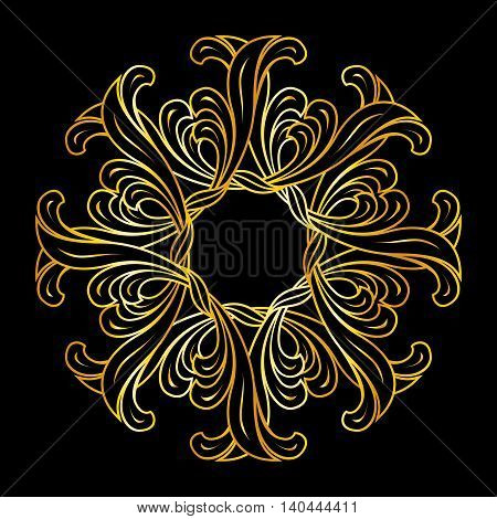 Abstract floral ornament in golden colors on black background