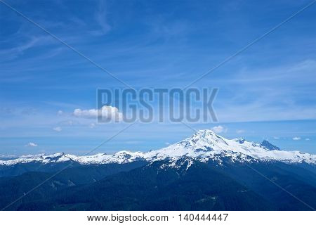 Mountain top with snow. Mount Baker from Church Mountain North Cascades National Park Bellingham Washington State USA.