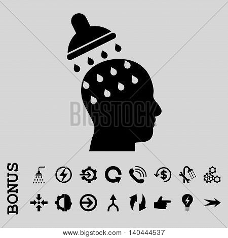 Brain Washing vector icon. Image style is a flat iconic symbol, black color, light gray background.
