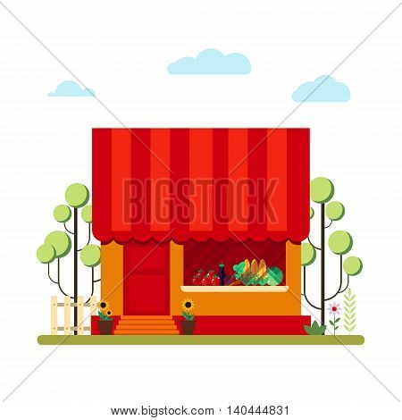 Farm product shop in flat style - vector illustration stock. Market icon with showcases isolated on white background. Store on the street.