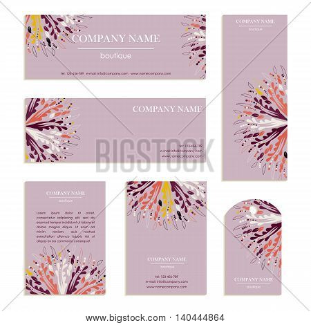 Set of business cards letterheads for design. Templates with an abstract pattern. Vector illustration in purple and lilac colors.