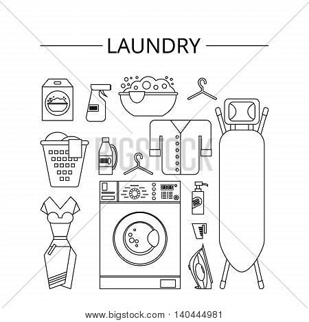Laundry room in flat style. Laundry clean objects. Cleaning service - vector illustration.