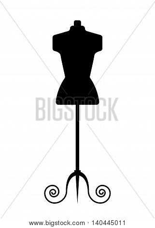Female mannequin for tailor, black dummy in flat style. Sewing logo design - stock vector illustration