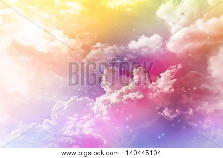 Colourful Dreamy Puffy Clouds Sky With Lense Flare