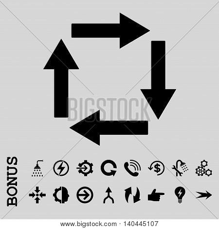 Circulation Arrows vector icon. Image style is a flat iconic symbol, black color, light gray background.