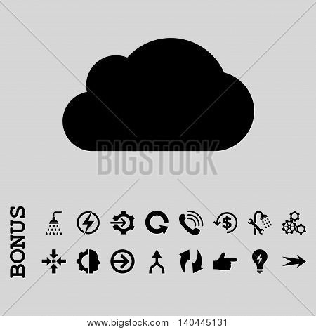 Cloud vector icon. Image style is a flat pictogram symbol, black color, light gray background.