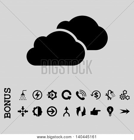 Clouds vector icon. Image style is a flat pictogram symbol, black color, light gray background.