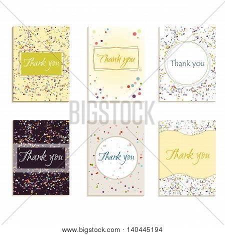 A set of cards with thank you with a pattern of dots in pastel colors. Vector illustration.
