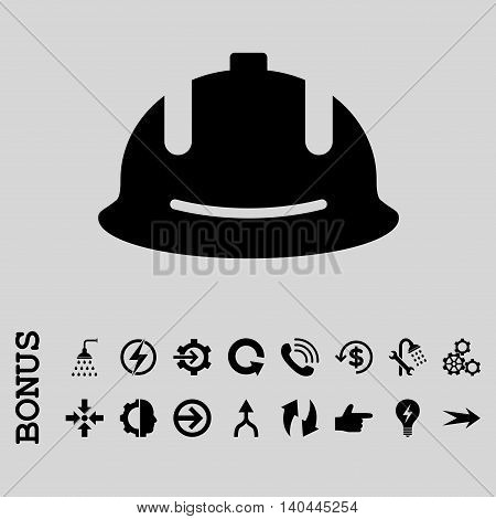 Construction Helmet vector icon. Image style is a flat pictogram symbol, black color, light gray background.