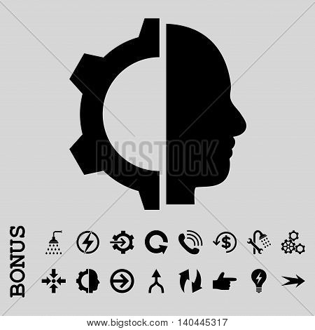 Cyborg Gear vector icon. Image style is a flat iconic symbol, black color, light gray background.