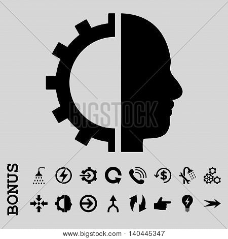 Cyborg Gear vector icon. Image style is a flat pictogram symbol, black color, light gray background.