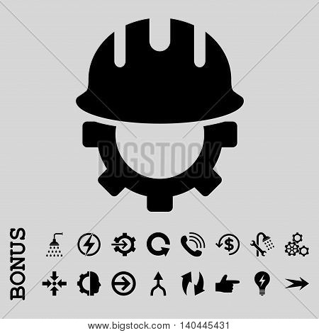Development Hardhat vector icon. Image style is a flat iconic symbol, black color, light gray background.