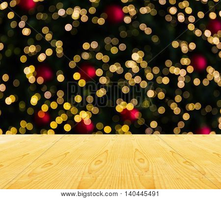 Wooden Table Top Blank Space Or Empty Area With Xmas Tree Light Background