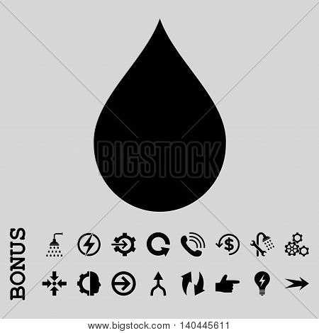 Drop vector icon. Image style is a flat iconic symbol, black color, light gray background.