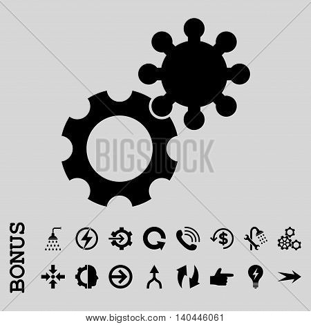 Gears vector icon. Image style is a flat iconic symbol, black color, light gray background.