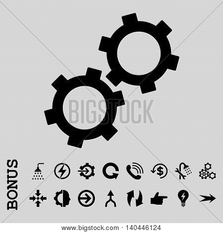Gears vector icon. Image style is a flat pictogram symbol, black color, light gray background.