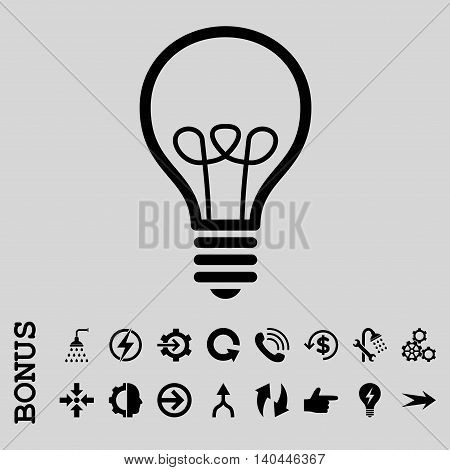 Lamp Bulb vector icon. Image style is a flat iconic symbol, black color, light gray background.