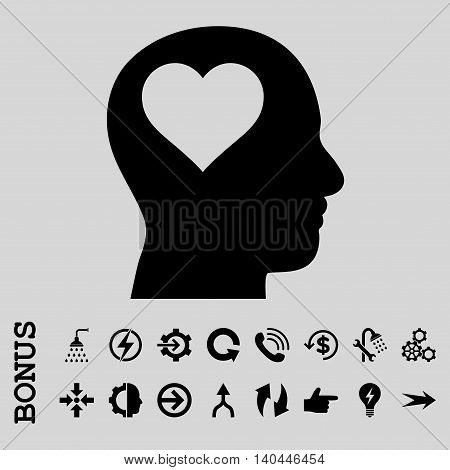 Lover Head vector icon. Image style is a flat iconic symbol, black color, light gray background.