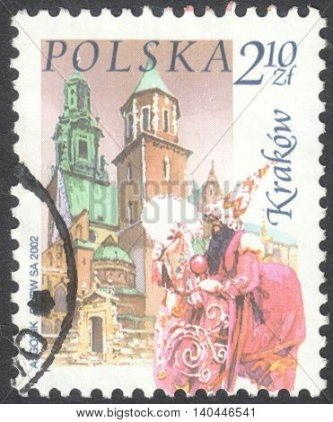 MOSCOW RUSSIA - CIRCA APRIL 2016: a post stamp printed in POLAND shows a view of Krakow town the series