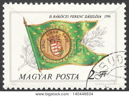 MOSCOW RUSSIA - CIRCA APRIL 2016: a post stamp printed in HUNGARY shows Ferenc Rakoczi II flag the series