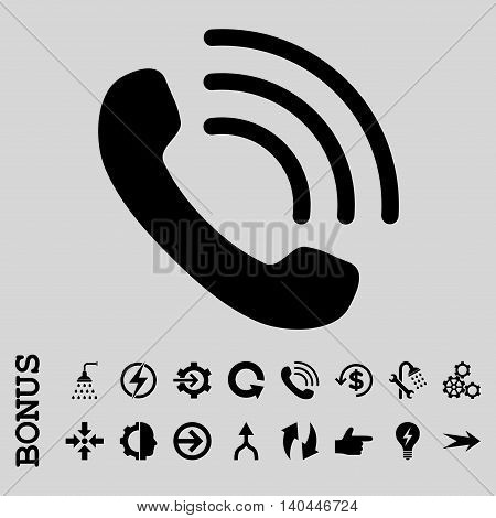 Phone Call vector icon. Image style is a flat pictogram symbol, black color, light gray background.