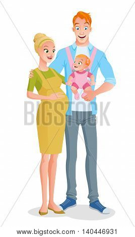 Cute smiling cartoon family with a baby girl in carrier and expecting another child. Vector illustration isolated on white background.