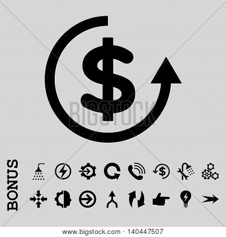 Refund vector icon. Image style is a flat pictogram symbol, black color, light gray background.