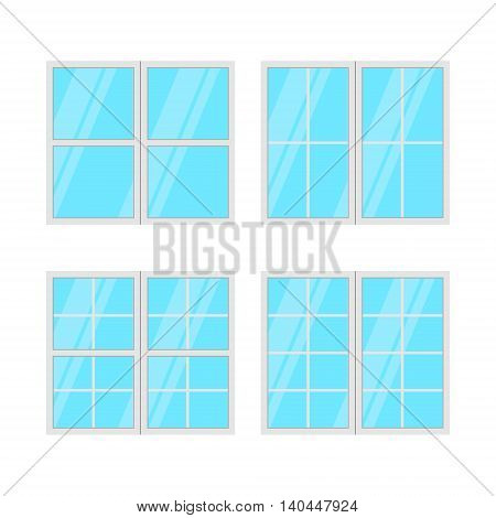 Windows set isolated on white background. Vector illustration