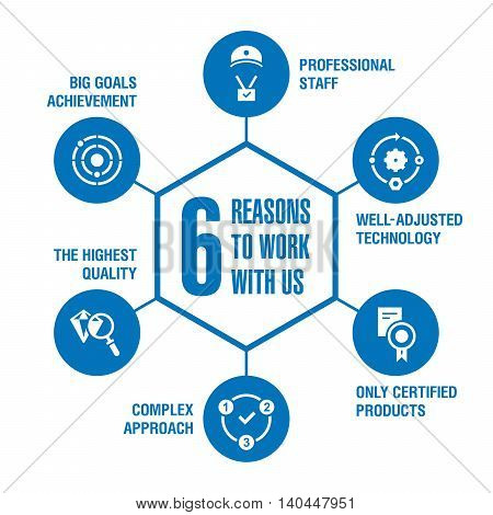 6 reasons to work with us. Infographics. Blue.